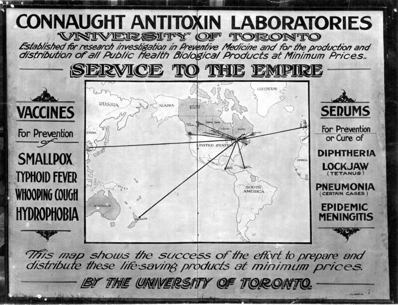 A map from Connaught Antitoxin Laboratories shows them distributing vaccines to China, New Zealand, the Caribbean and Europe.