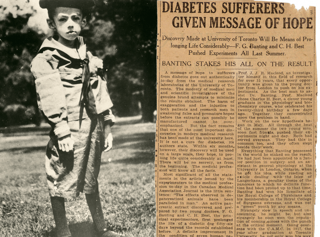 5-year-old Teddy Ryder looks skeletal before receiving insulin. He is wearing a rumpled sailor suit and standing in a park. A newspaper clipping from the Toronto Daily Star in March 1922. The headline reads: Diabetes Sufferers given message of hope.