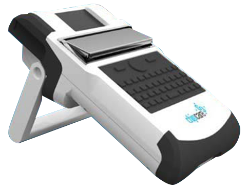 The handheld Chipcare device has a tiny screen, a small slot covered by a metal flap, and a small keyboard.