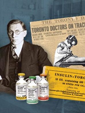 A collage of images that include a newspaper clipping, a label from the original insulin bottle, and Fredrick Banting.