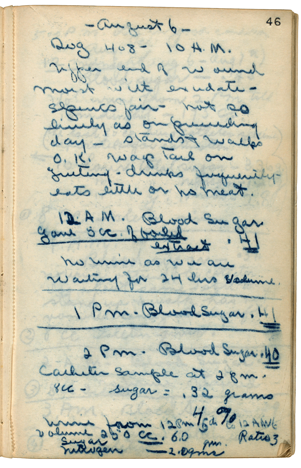 A page of lab notes dated August 6, 1921. Time-stamped entries record a dog's blood sugar levels and general condition.