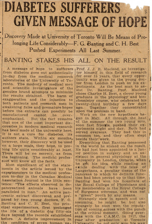 A newspaper clipping from the Toronto Daily Star in March 1922. The headline reads: Diabetes Sufferers given message of hope.