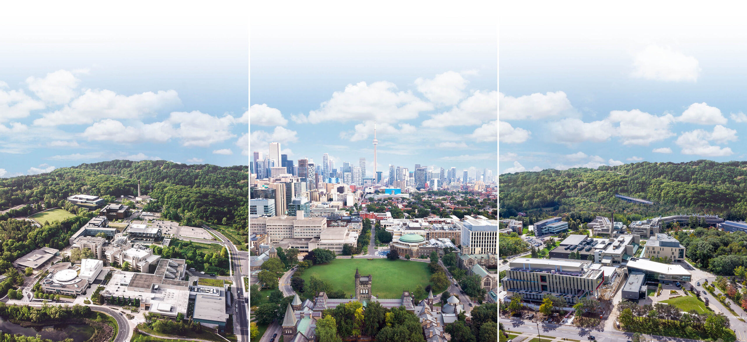 An aerial view of the University of Toronto looking south. The downtown Toronto skyline is in the background.